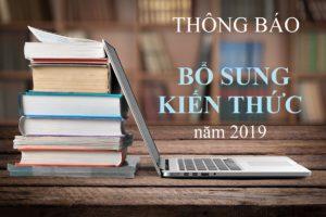 THÔNG BÁO MỞ LỚP BỔ SUNG KIẾN THỨC ĐỢT THÁNG 3 NĂM 2019